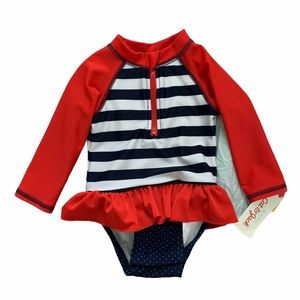 🍉4/$25 Cat & Jack 6-9m Red, White & Blue Swimsuit